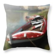 Morning Mist On The Arno River Italy Throw Pillow