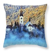 Morning Mist On The Island Throw Pillow