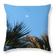 Morning Moon Over Palms Throw Pillow