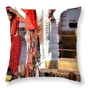 Morning Offerings - Narmada River Source - Amarkantak India Throw Pillow