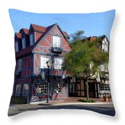 Morning On 2nd Street Solvang California Throw Pillow