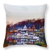 Morning On Boathouse Row Throw Pillow