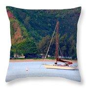 Morning On Hanalei Bay Throw Pillow