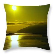 Morning On The Columbia River Throw Pillow