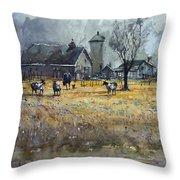 Morning On The Farm Throw Pillow