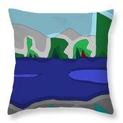 Morning On The Fraser River Near Maple Ridge Throw Pillow