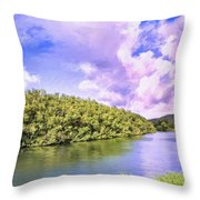 Morning On The Hanalei River Throw Pillow