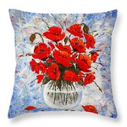 Morning Red Poppies Original Palette Knife Painting Throw Pillow