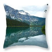 Morning Reflection In Emerald Lake In Yoho National Park-british Columbia-canada Throw Pillow