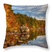 Morning Reflection Of Fall Colors Throw Pillow