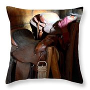 Morning Saddles Throw Pillow