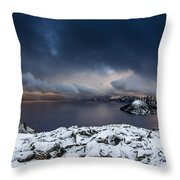 Morning Storm At Crater Lake Throw Pillow