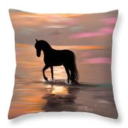 Morning Stroll On The Beach Throw Pillow