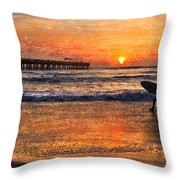 Morning Surf Throw Pillow by Debra and Dave Vanderlaan
