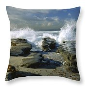 Morning Tide In La Jolla Throw Pillow by Sandra Bronstein