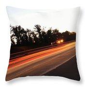 Morning Traffic On Highway Throw Pillow