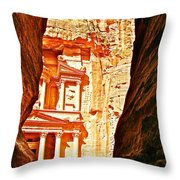 Morning View Of The Treasury From The Gorge In Petra-jordan  Throw Pillow