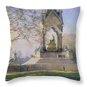 Morning Visitors To The Albert Memorial Oil On Canvas Throw Pillow