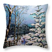 Morning Walk Together Throw Pillow
