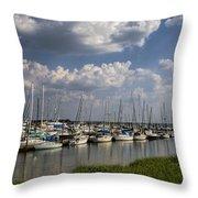 Morningstar Marina Boat Harbor Georgia Throw Pillow