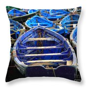 Moroccan Blue Fishing Boats Throw Pillow