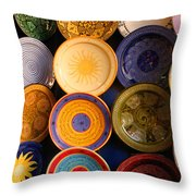 Moroccan Pottery On Display For Sale Throw Pillow