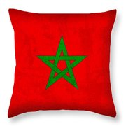 Morocco Flag Vintage Distressed Finish Throw Pillow