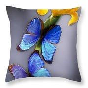 Morpho On Yellow Iris Throw Pillow