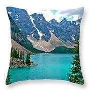 Morraine Lake In Banff Np-alberta Throw Pillow