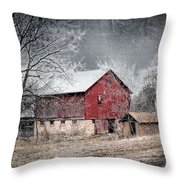 Morris County Red Barn In Snow Throw Pillow