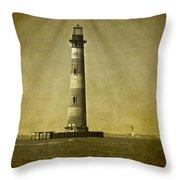 Morris Island Light Vintage Bw Uncropped Throw Pillow