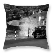 Morris Minor And The Wave Throw Pillow