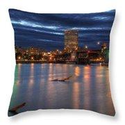 Morrison Bridge Over Willamette River Portland Oregon Throw Pillow