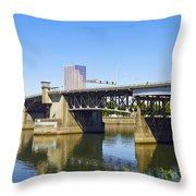 Morrison Bridge Portland Oregon Throw Pillow