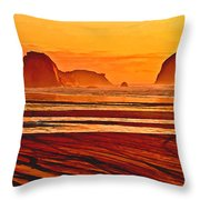 Morro Rock Painting Throw Pillow