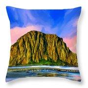 Morro Rock Sunset Throw Pillow