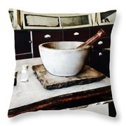 Mortar And Pestle In Apothecary Throw Pillow