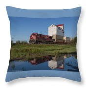 Train Reflection At Mortlach Saskatchewan Grain Elevator Throw Pillow by Steve Boyko