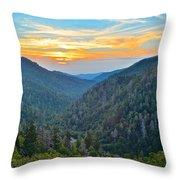 Mortons Overlook Smoky Mountain Sunset Throw Pillow