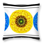 Mosaic Blue Circles With Yellow Throw Pillow