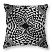 Mosaic Circle Symmetric Black And White Throw Pillow