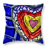 Mosaic Heart By Diana Sainz Throw Pillow