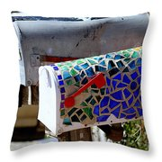 Mosaic Mailbox On The Turquoise Trail In New Mexico Throw Pillow