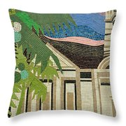 Mosaic Of Church With Palm Tree Throw Pillow