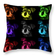 Mosaic Salt And Pepper Schnauzer Puppy Pop Art 7206 F -bb Throw Pillow