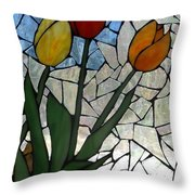 Mosaic Stained Glass - Spring Shower Throw Pillow