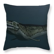 Mosasaur Swimming In Prehistoric Waters Throw Pillow