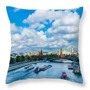 Moscow Kremlin And Busy River Traffic Throw Pillow