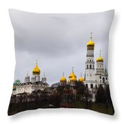 Moscow Kremlin Cathedrals - Featured 3 Throw Pillow