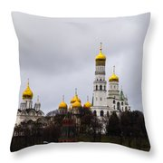 Moscow Kremlin Cathedrals - Square Throw Pillow